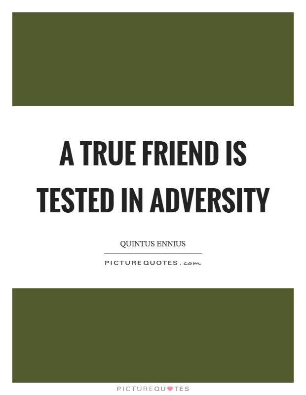 A true friend is tested in adversity Picture Quote #1