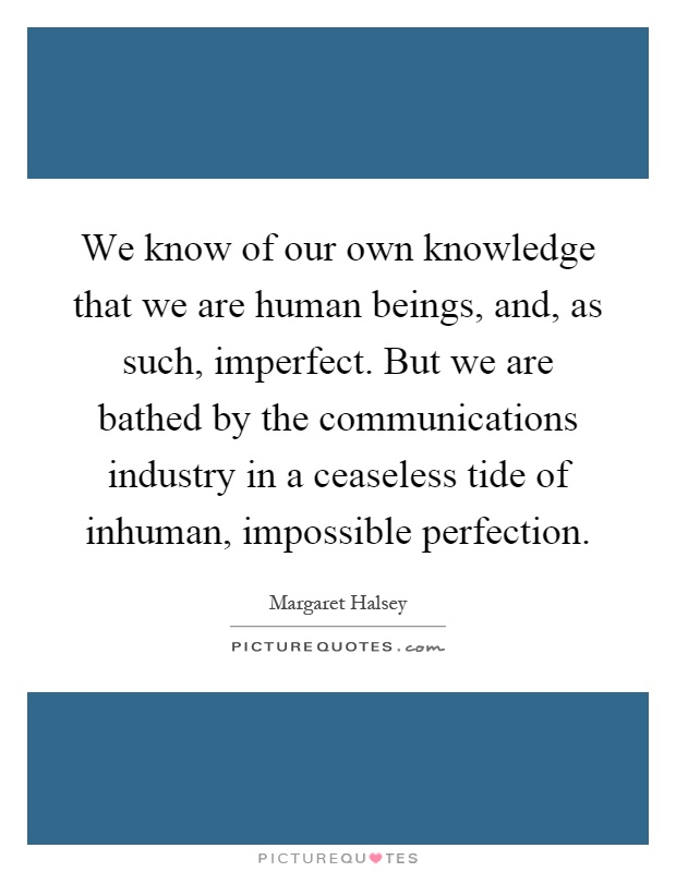We know of our own knowledge that we are human beings, and, as such, imperfect. But we are bathed by the communications industry in a ceaseless tide of inhuman, impossible perfection Picture Quote #1