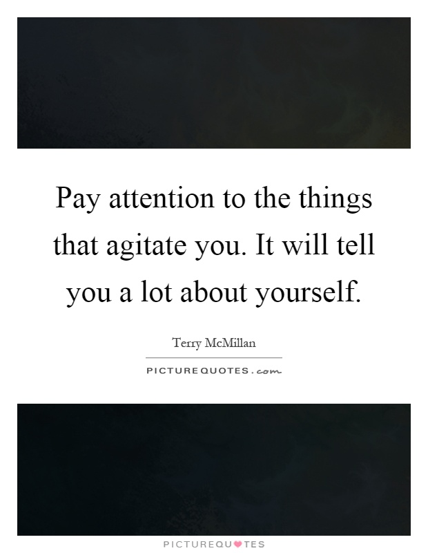 Pay attention to the things that agitate you. It will tell you a lot about yourself Picture Quote #1