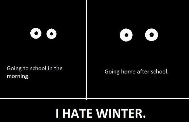Going to school in the morning. Going home after school. I hate winter Picture Quote #1