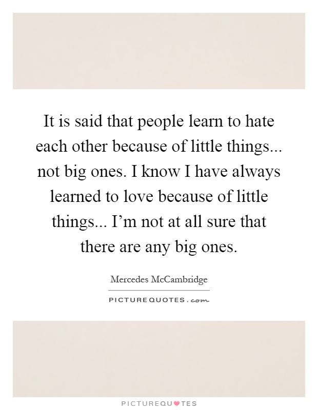 It is said that people learn to hate each other because of little things... not big ones. I know I have always learned to love because of little things... I'm not at all sure that there are any big ones Picture Quote #1