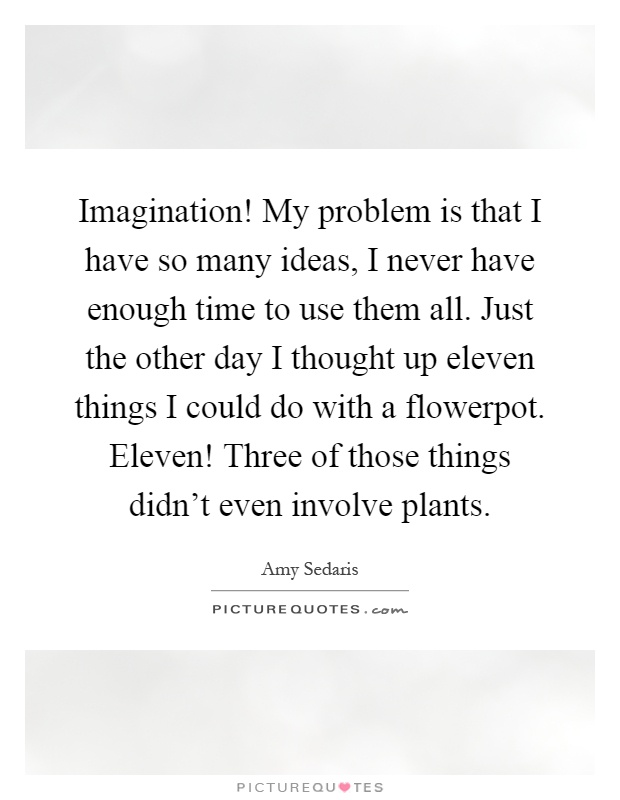 Imagination! My problem is that I have so many ideas, I never have enough time to use them all. Just the other day I thought up eleven things I could do with a flowerpot. Eleven! Three of those things didn't even involve plants Picture Quote #1