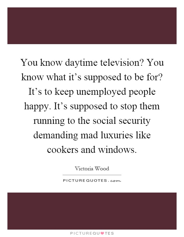 You know daytime television? You know what it's supposed to be for? It's to keep unemployed people happy. It's supposed to stop them running to the social security demanding mad luxuries like cookers and windows Picture Quote #1