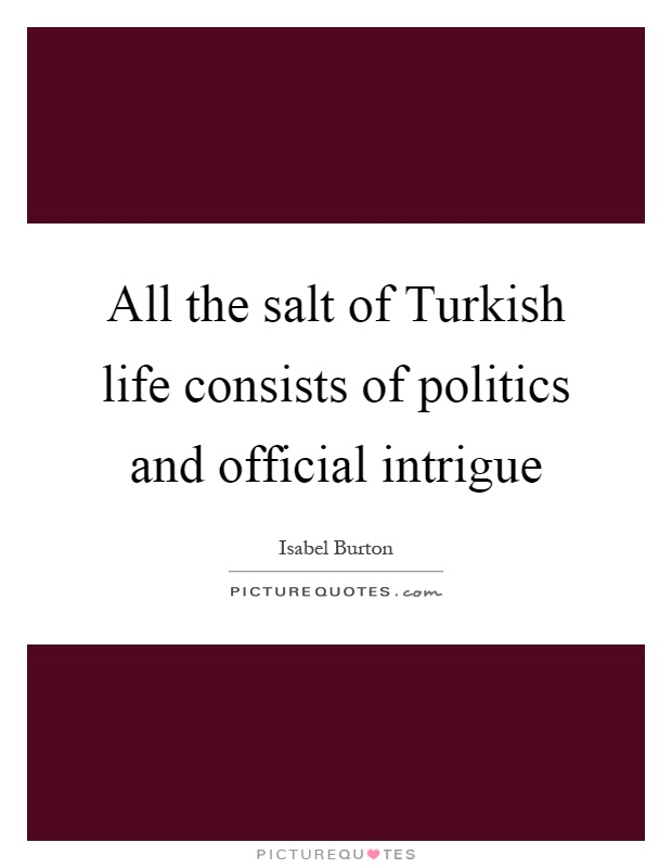 All the salt of Turkish life consists of politics and official intrigue Picture Quote #1