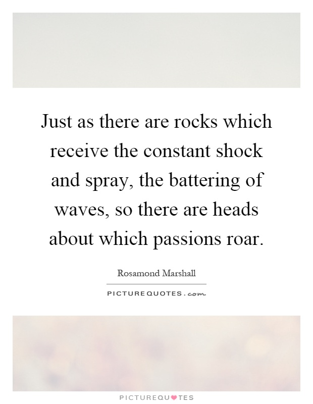 Just as there are rocks which receive the constant shock and spray, the battering of waves, so there are heads about which passions roar Picture Quote #1