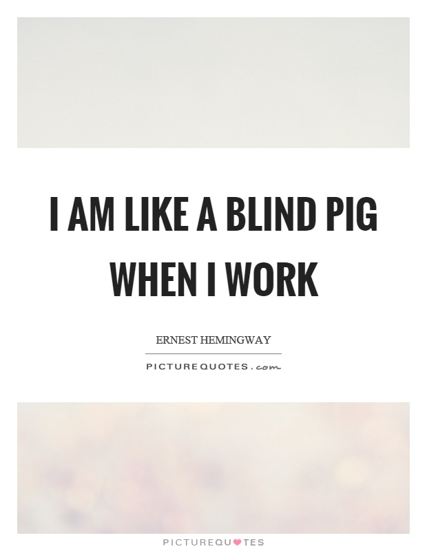 I am like a blind pig when I work Picture Quote #1