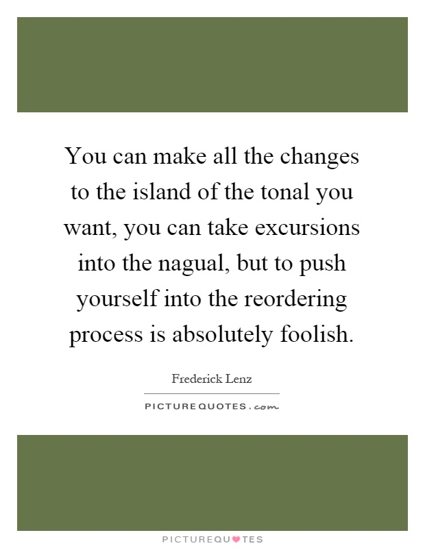 You can make all the changes to the island of the tonal you want, you can take excursions into the nagual, but to push yourself into the reordering process is absolutely foolish Picture Quote #1