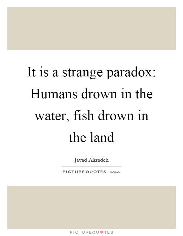It is a strange paradox: Humans drown in the water, fish drown in the land Picture Quote #1