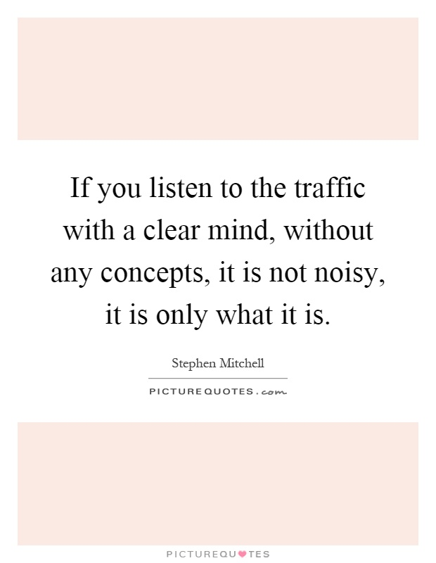 If you listen to the traffic with a clear mind, without any concepts, it is not noisy, it is only what it is Picture Quote #1