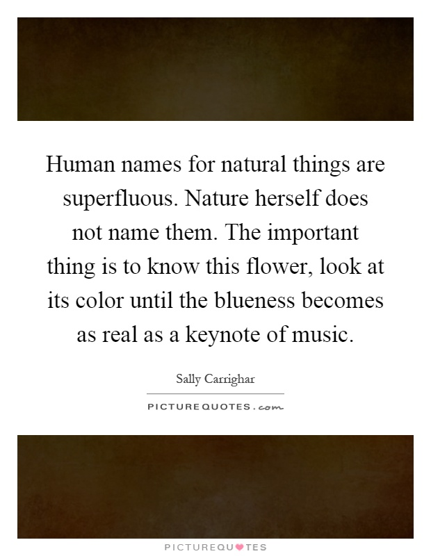 Human names for natural things are superfluous. Nature herself does not name them. The important thing is to know this flower, look at its color until the blueness becomes as real as a keynote of music Picture Quote #1