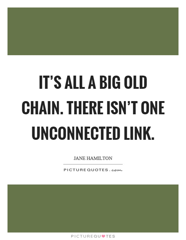It's all a big old chain. There isn't one unconnected link Picture Quote #1