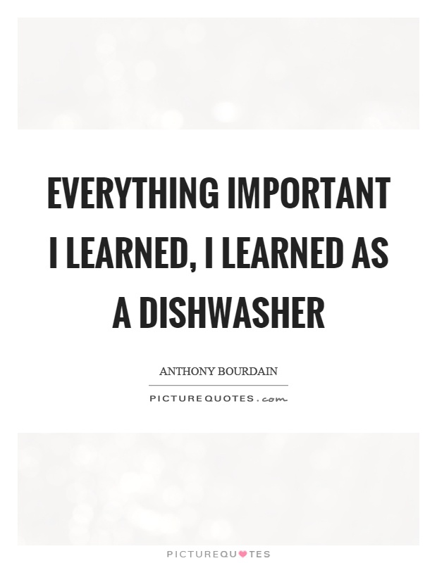 Everything important I learned, I learned as a dishwasher Picture Quote #1