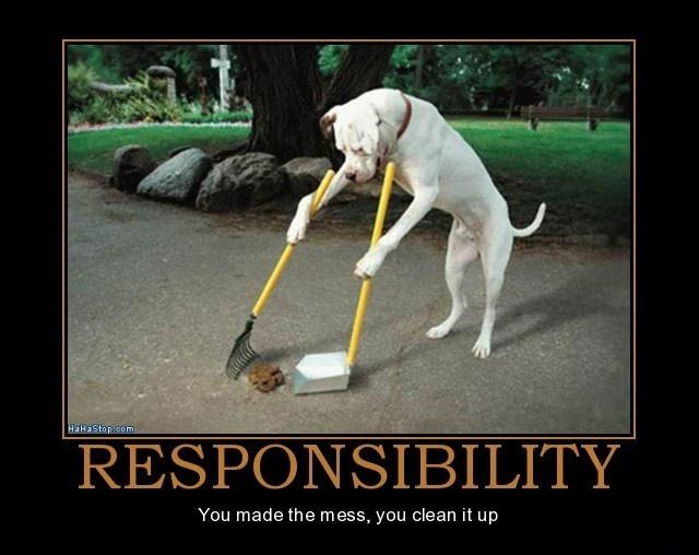 Responsibility. You made the mess, you clean it up Picture Quote #1