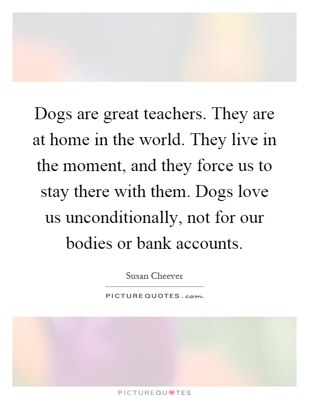 Dogs are great teachers. They are at home in the world. They live in the moment, and they force us to stay there with them. Dogs love us unconditionally, not for our bodies or bank accounts Picture Quote #1