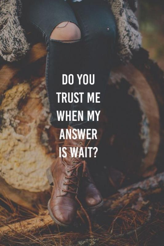 Do you trust me when my answer is wait? Picture Quote #1