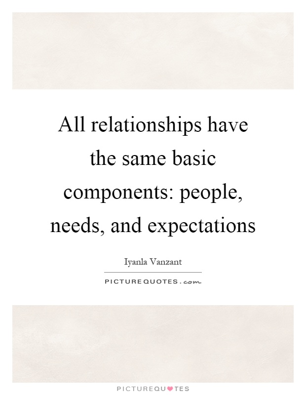 All relationships have the same basic components: people, needs, and expectations Picture Quote #1