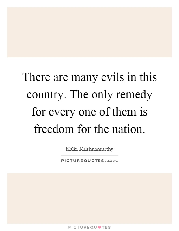 There are many evils in this country. The only remedy for every one of them is freedom for the nation Picture Quote #1
