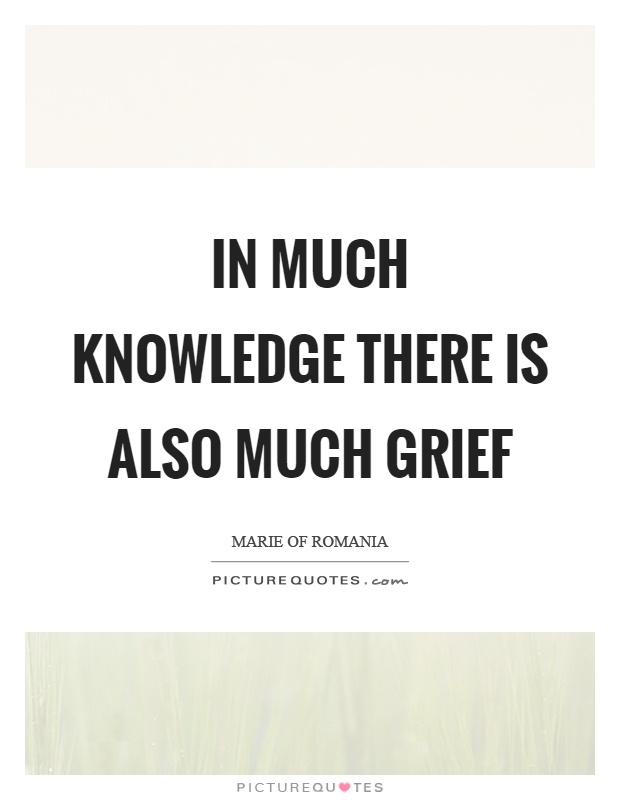 In much knowledge there is also much grief Picture Quote #1