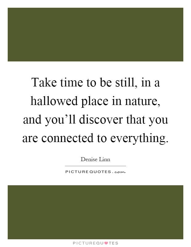 Take time to be still, in a hallowed place in nature, and you'll discover that you are connected to everything Picture Quote #1