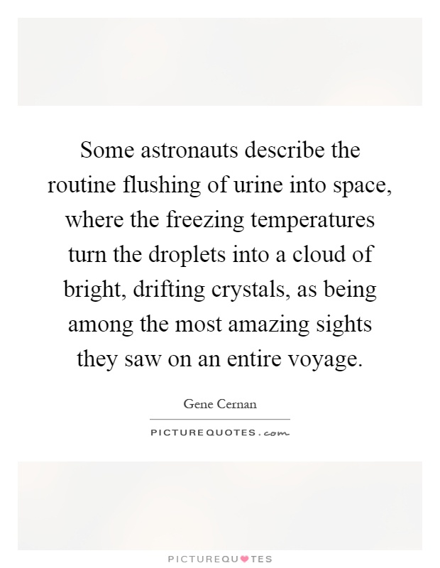 Some astronauts describe the routine flushing of urine into space, where the freezing temperatures turn the droplets into a cloud of bright, drifting crystals, as being among the most amazing sights they saw on an entire voyage Picture Quote #1