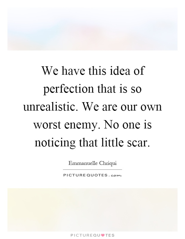We have this idea of perfection that is so unrealistic. We are our own worst enemy. No one is noticing that little scar Picture Quote #1