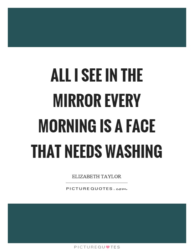 All I see in the mirror every morning is a face that needs washing Picture Quote #1