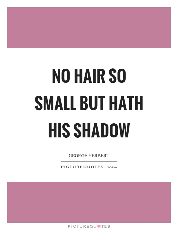 No hair so small but hath his shadow Picture Quote #1