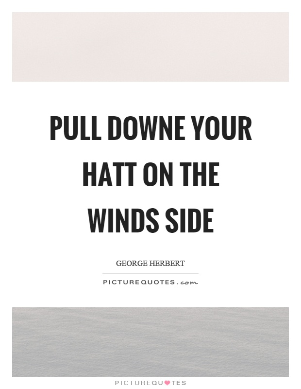 Pull downe your hatt on the winds side Picture Quote #1