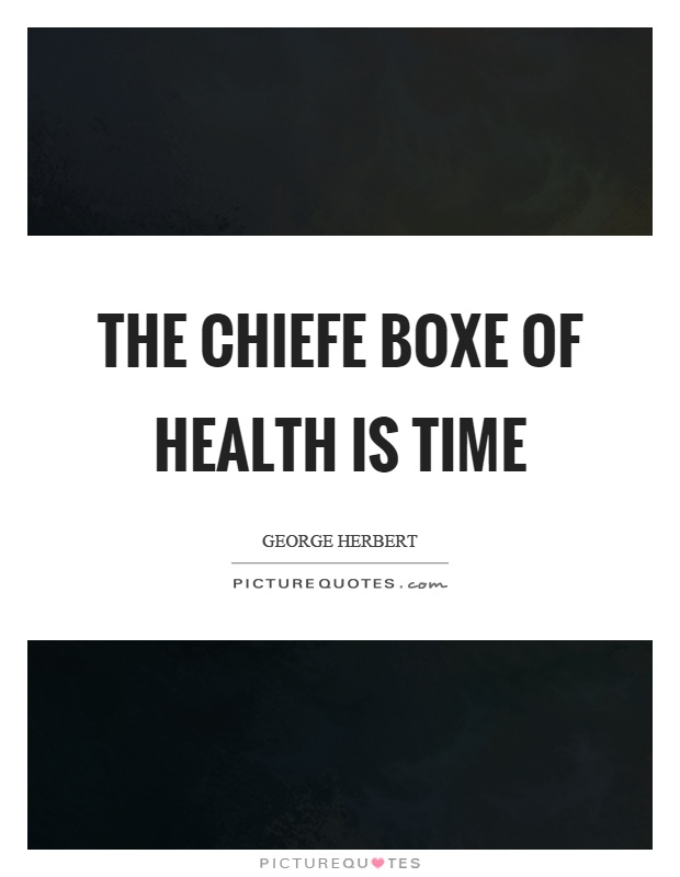 The chiefe boxe of health is time Picture Quote #1