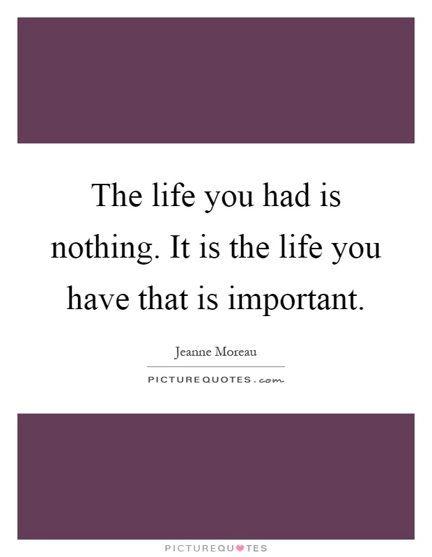 The life you had is nothing. It is the life you have that is important Picture Quote #1