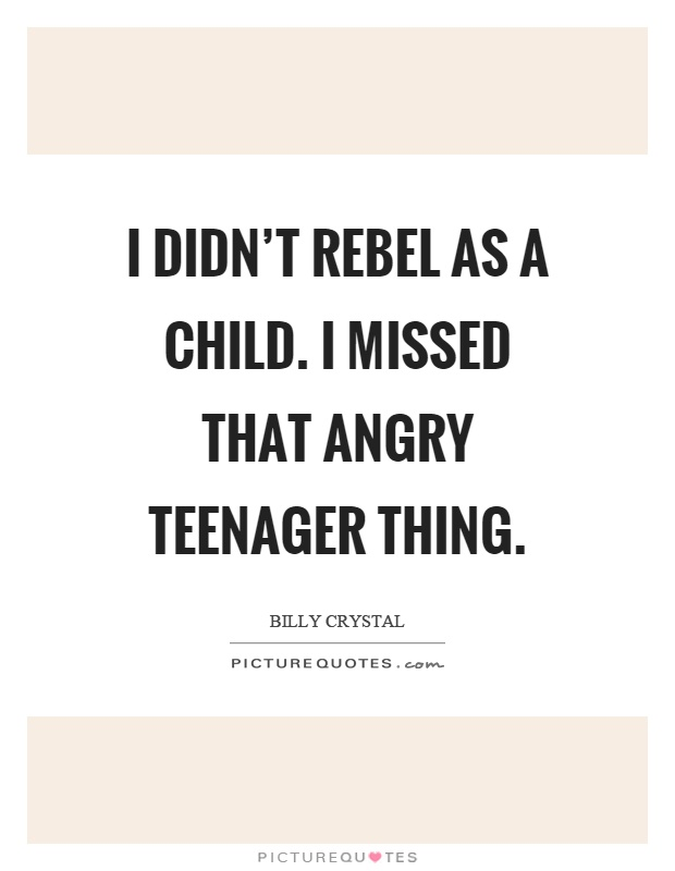 I didn't rebel as a child. I missed that angry teenager thing Picture Quote #1