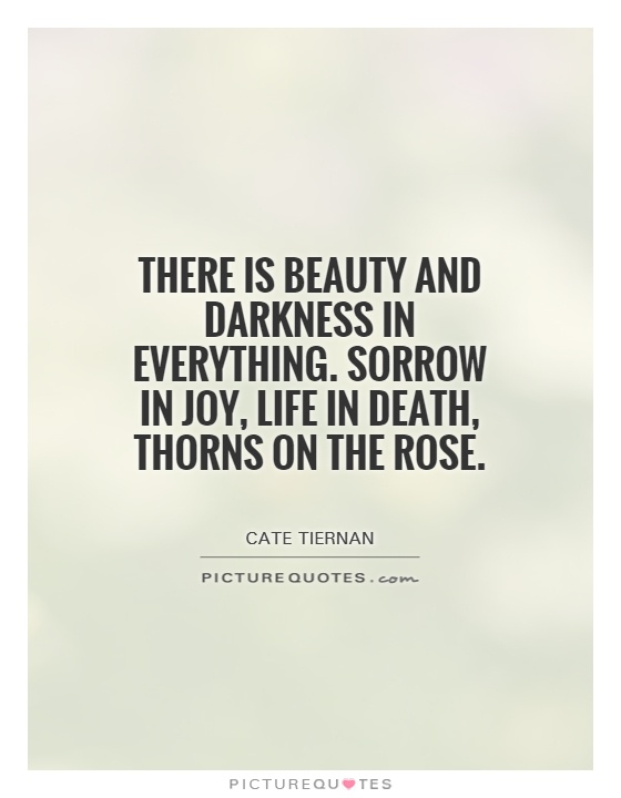 There is beauty and darkness in everything  Sorrow in joy