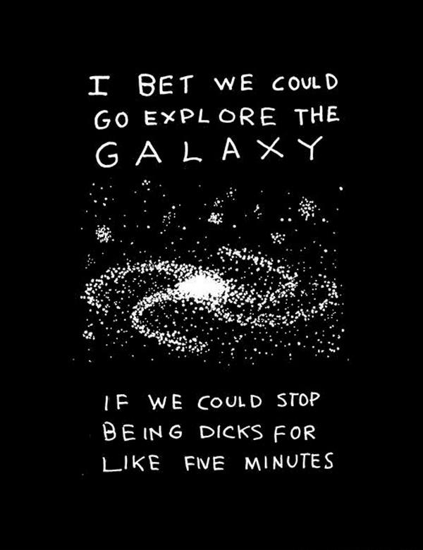 I bet we could go explore the galaxy if we could stop being dicks for like five minutes Picture Quote #1