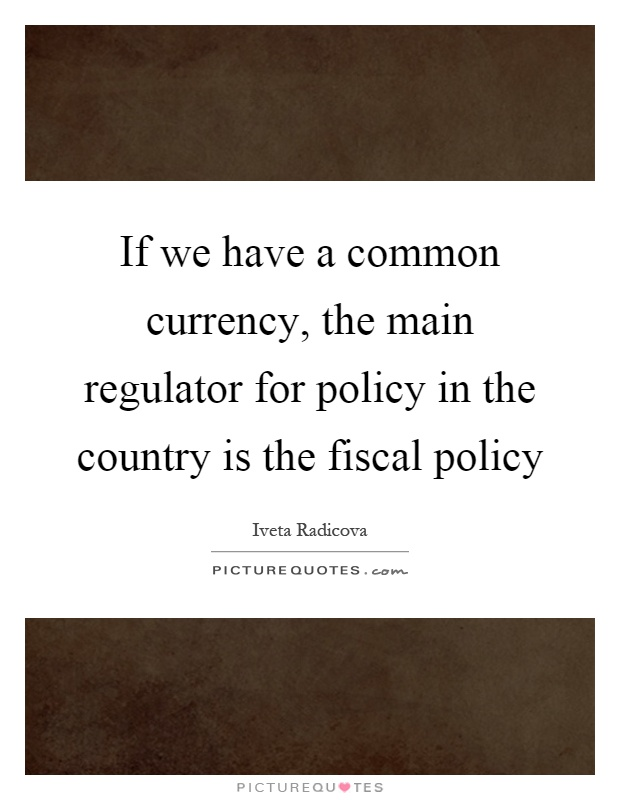 If we have a common currency, the main regulator for policy in the country is the fiscal policy Picture Quote #1
