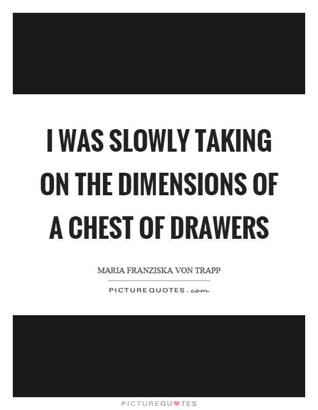 I was slowly taking on the dimensions of a chest of drawers Picture Quote #1