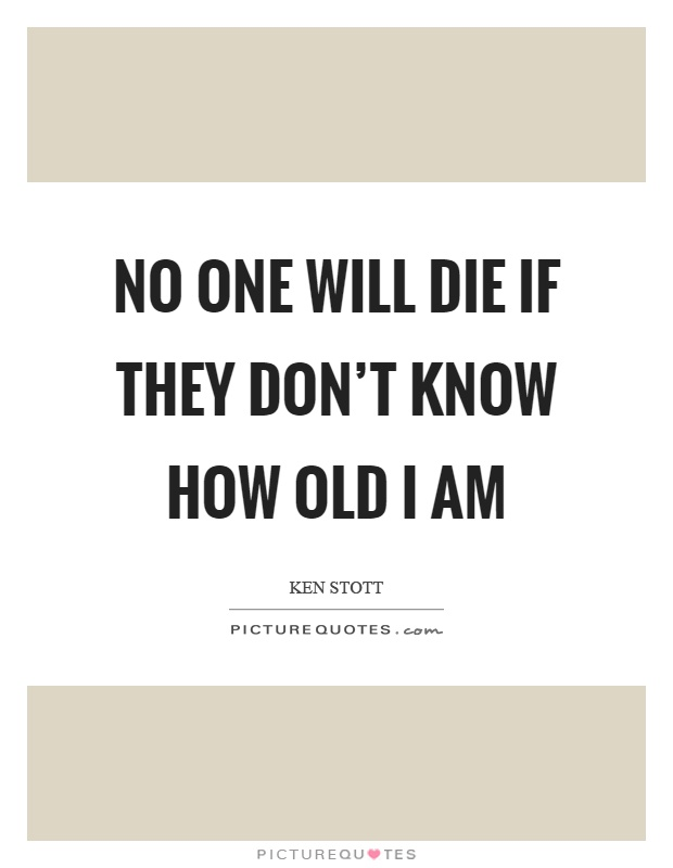 No one will die if they don't know how old I am Picture Quote #1