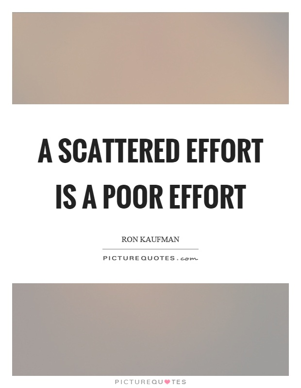 A scattered effort is a poor effort Picture Quote #1
