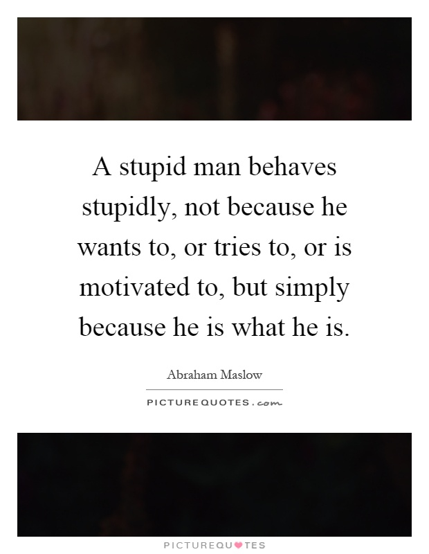 A stupid man behaves stupidly, not because he wants to, or tries to, or is motivated to, but simply because he is what he is Picture Quote #1