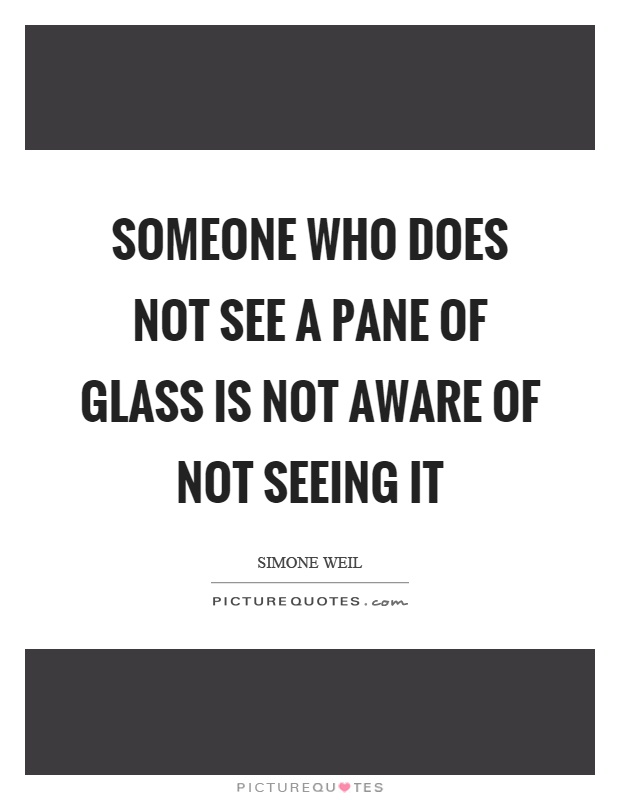 Someone who does not see a pane of glass is not aware of not seeing it Picture Quote #1