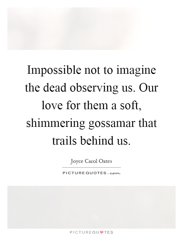 Impossible not to imagine the dead observing us. Our love for them a soft, shimmering gossamar that trails behind us Picture Quote #1