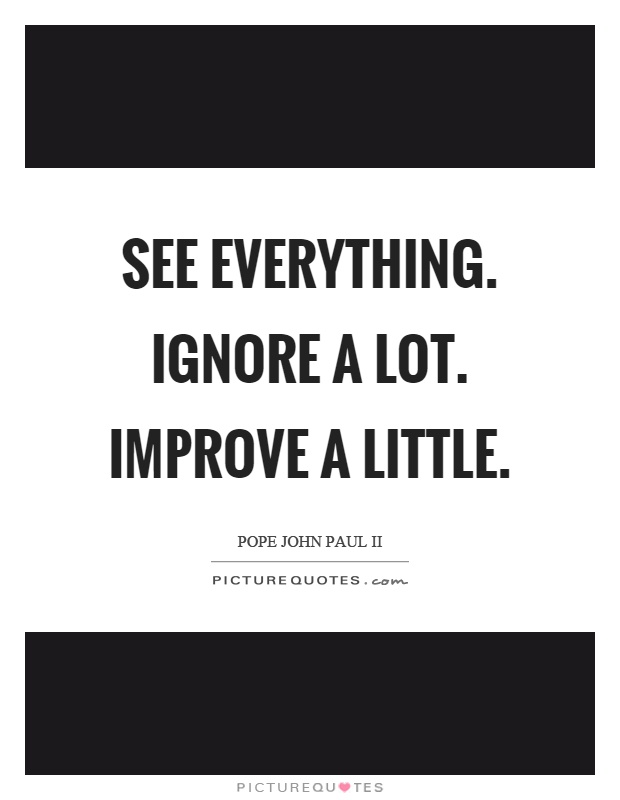 See everything. Ignore a lot. Improve a little Picture Quote #1