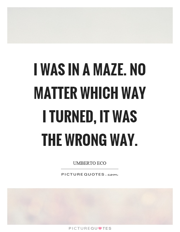 I was in a maze. No matter which way I turned, it was the wrong way Picture Quote #1