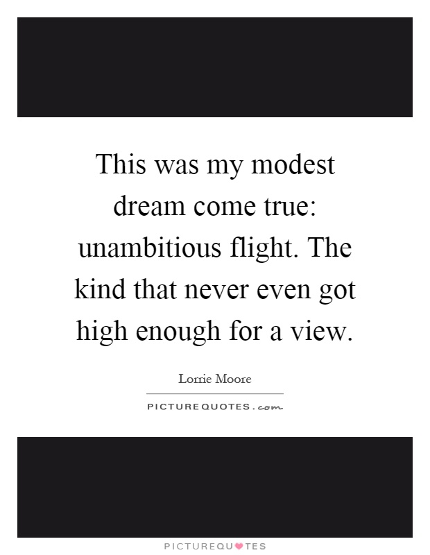 This was my modest dream come true: unambitious flight. The kind that never even got high enough for a view Picture Quote #1