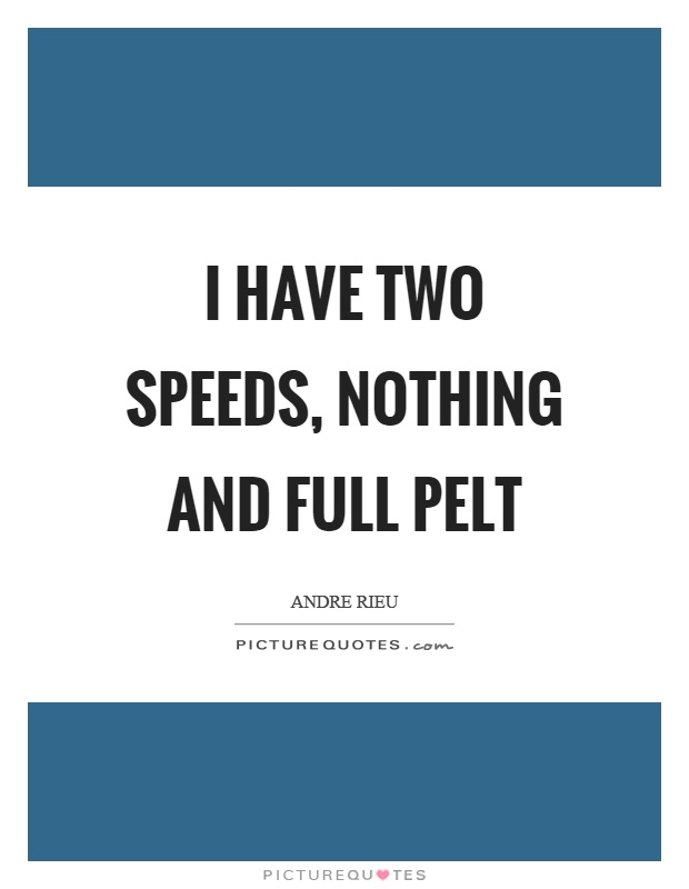 I have two speeds, nothing and full pelt Picture Quote #1