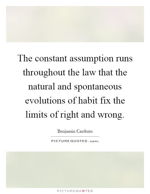 The constant assumption runs throughout the law that the natural and spontaneous evolutions of habit fix the limits of right and wrong Picture Quote #1