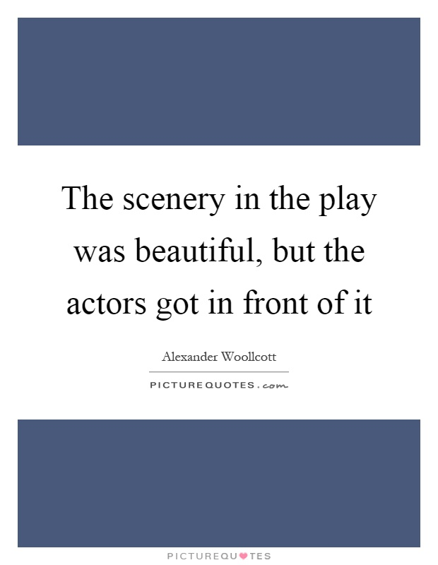 The scenery in the play was beautiful, but the actors got in front of it Picture Quote #1