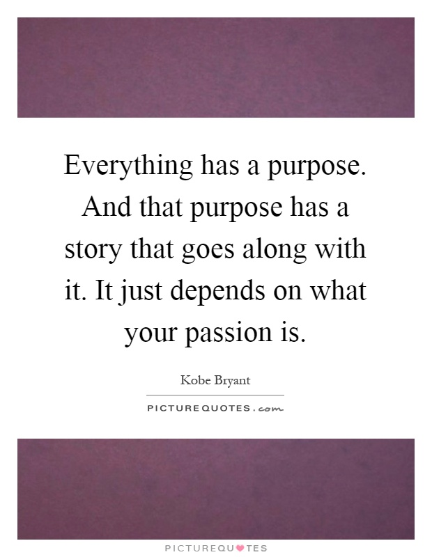 Everything has a purpose. And that purpose has a story that goes along with it. It just depends on what your passion is Picture Quote #1