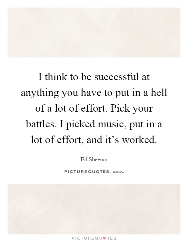I think to be successful at anything you have to put in a hell of a lot of effort. Pick your battles. I picked music, put in a lot of effort, and it's worked Picture Quote #1