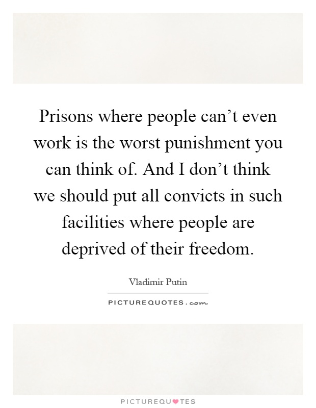 Prisons where people can't even work is the worst punishment you can think of. And I don't think we should put all convicts in such facilities where people are deprived of their freedom Picture Quote #1