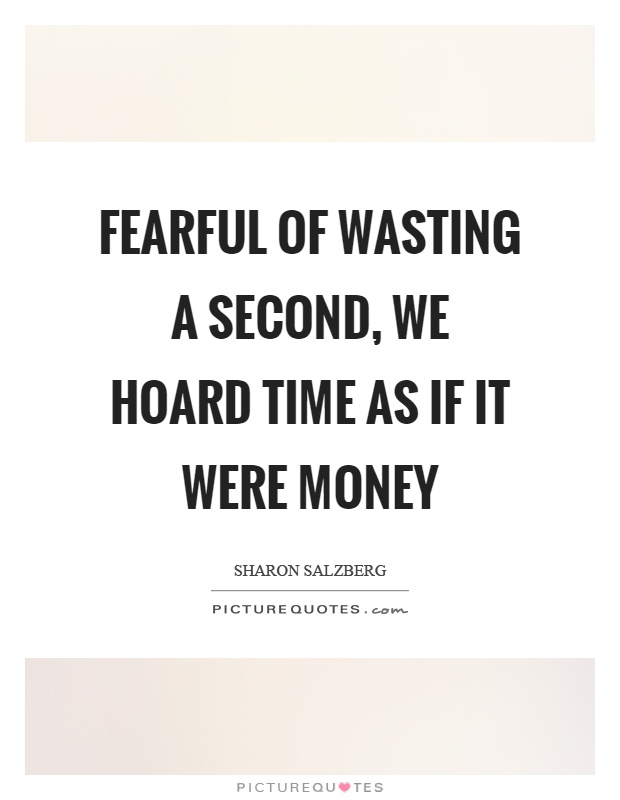 Fearful of wasting a second, we hoard time as if it were money Picture Quote #1